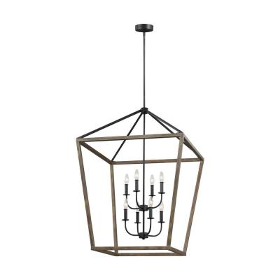 Gannet 8-Light Weathered Oak Wood/Antique Forged Iron Chandelier
