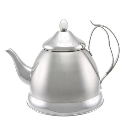 Nobili-Tea 8-Cup Brushed Stainless Steel with Stainless Steel Infuser Basket Tea Kettle