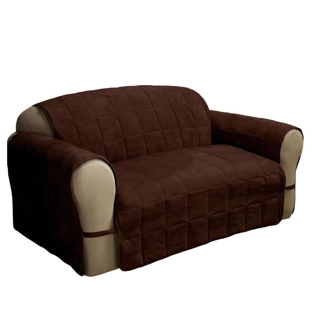 Captivating Null Chocolate Ultimate Faux Suede Sofa Protector