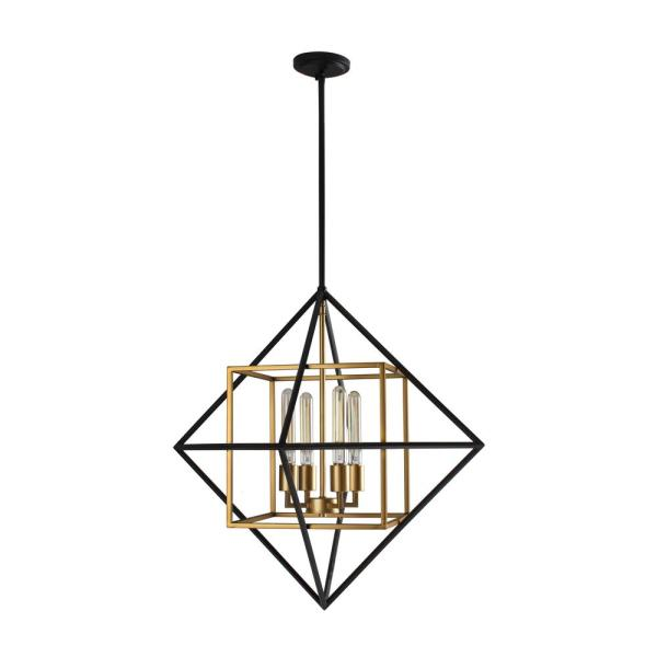 Pry or 4-Light Antique Gold/Black Geometric Pendant