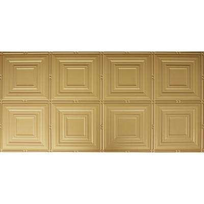 Dimensions Faux 2 ft. x 4 ft. Glue-up Tin Style Brass Ceiling Tile for Surface Mount