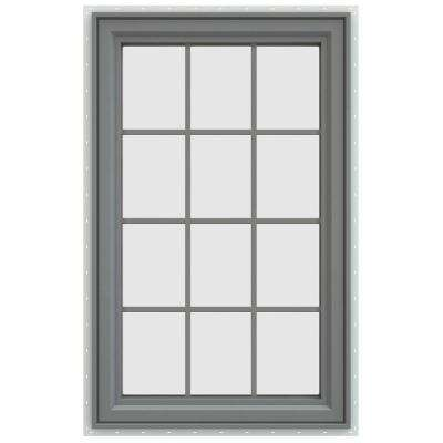 29.5 in. x 47.5 in. V-4500 Series Right-Hand Casement Vinyl Window with Grids - Gray