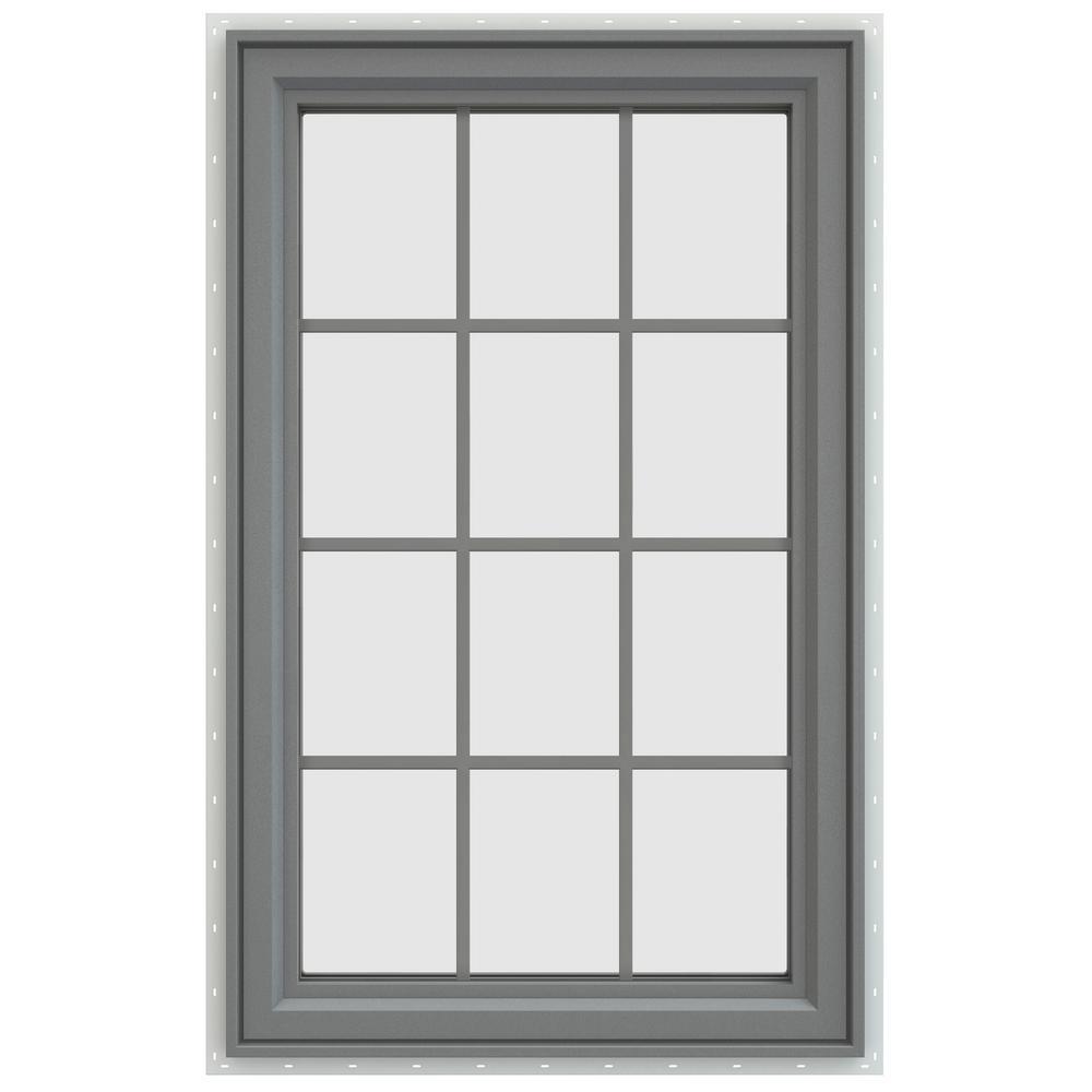 35.5 in. x 47.5 in. V-4500 Series Left-Hand Casement Vinyl Window with Grids - Gray