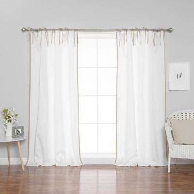 96 in. L Polyester Oxford Wheat Border Tie Top Curtains in White (2-Pack)