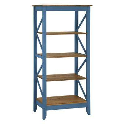 Jay 31.5 in. Blue Wash Solid Wood Bookcase with 4-Shelves