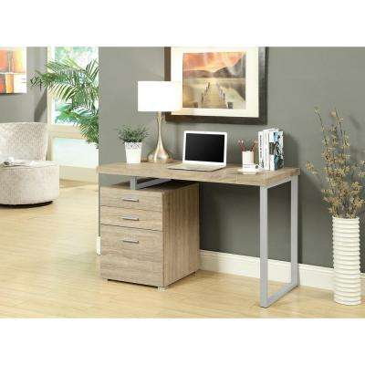 Natural Desk with File Cabinet
