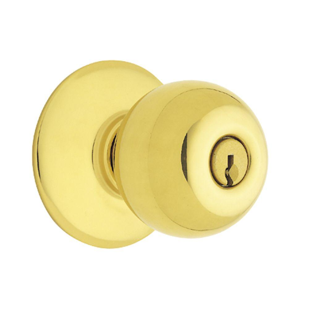 Schlage Bright Brass Medium-Duty Orbit Commercial Keyed Entry Knob - DISCONTINUED