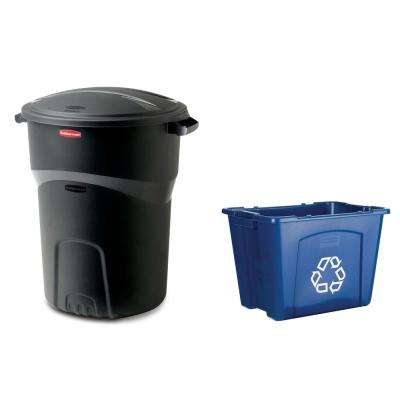 Roughneck 32 Gal. Black Trash Can with 14 Gal. Recycling Bin