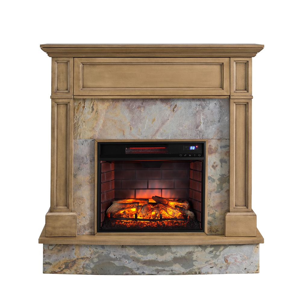 Southern enterprises marienne 48 in stone media infrared electric fireplace in weathered gray oak