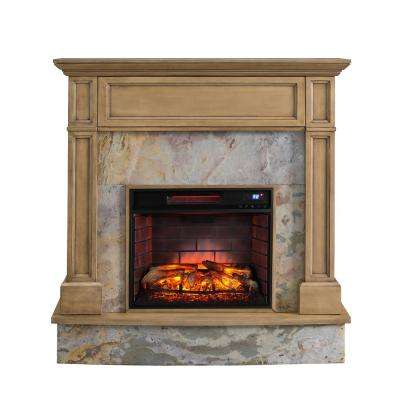 Marienne 48 in. Stone Media Infrared Electric Fireplace in Weathered Gray Oak