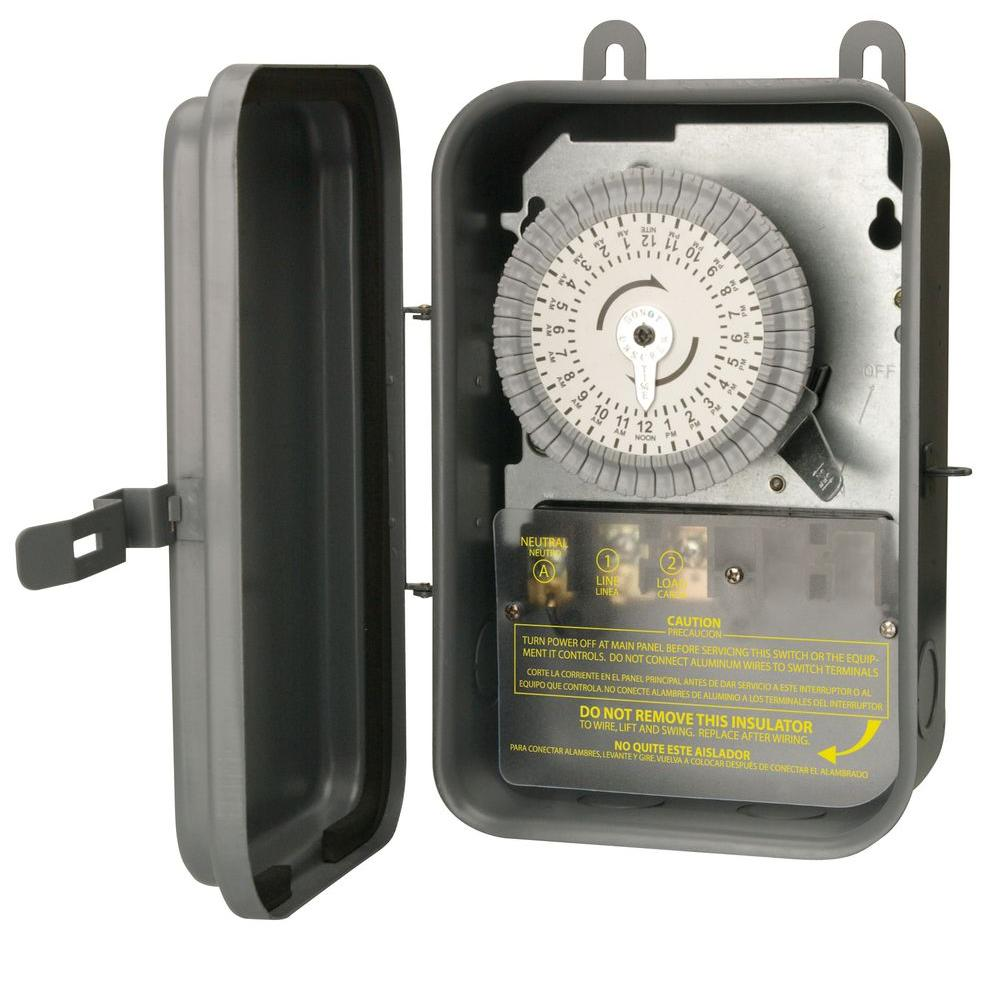 gray woods outdoor lighting accessories 59101r 64_1000 woods 40 amp 120 volt spst 24 hour outdoor mechanical time switch  at gsmportal.co