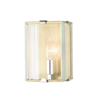 1-Light Antique Brass Sconce with Beveled Glass Panels