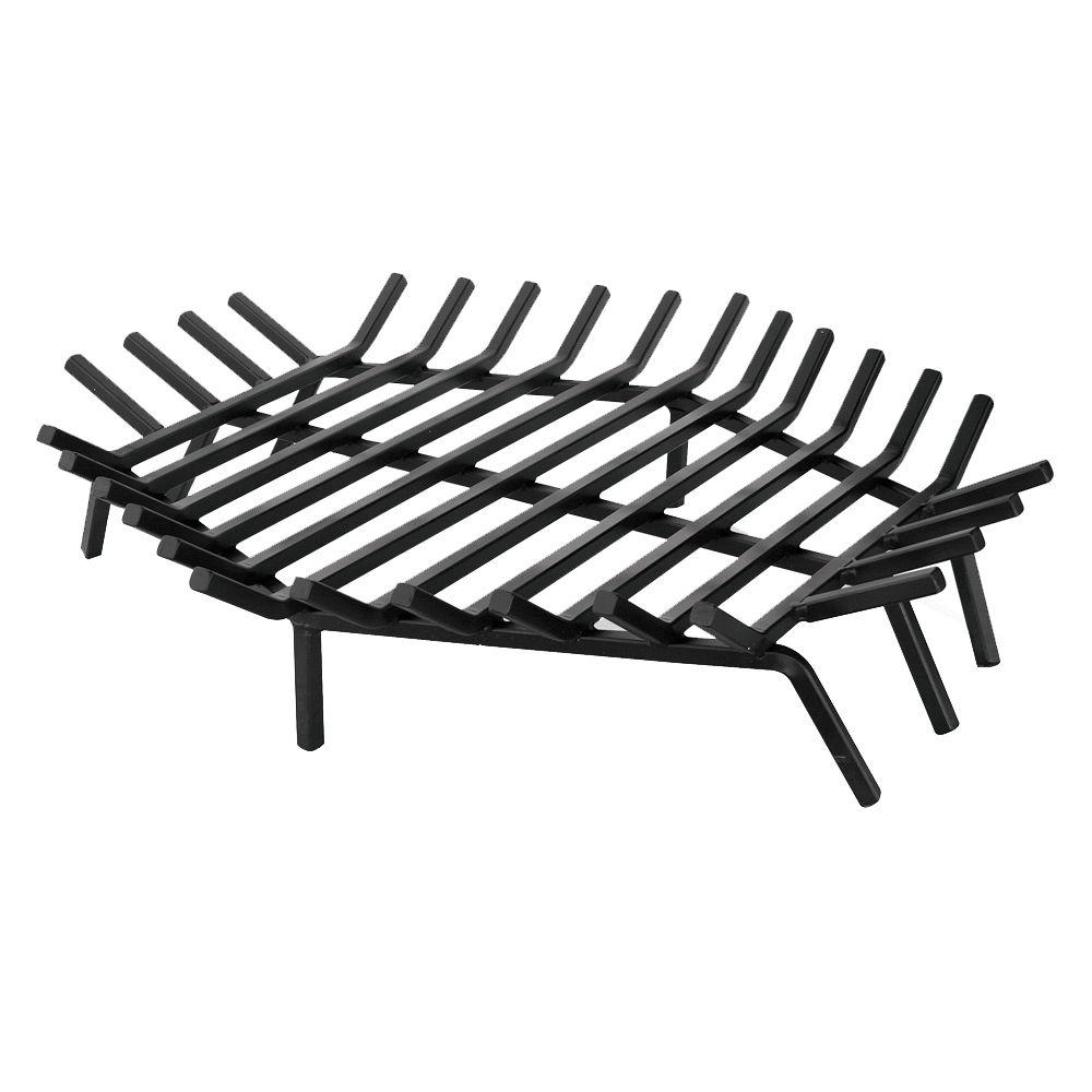 The UniFlame 30 in. x 30 in. Black Hexagon Shape Bar Grate is constructed of cast iron with black finish for long lasting durability. This increases air flow and keeps logs in place. It is perfect for indoor usage.