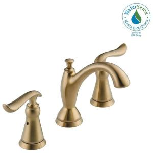 Delta Linden 8 inch Widespread 2-Handle Bathroom Faucet with Metal Drain Assembly in Champagne Bronze by Delta