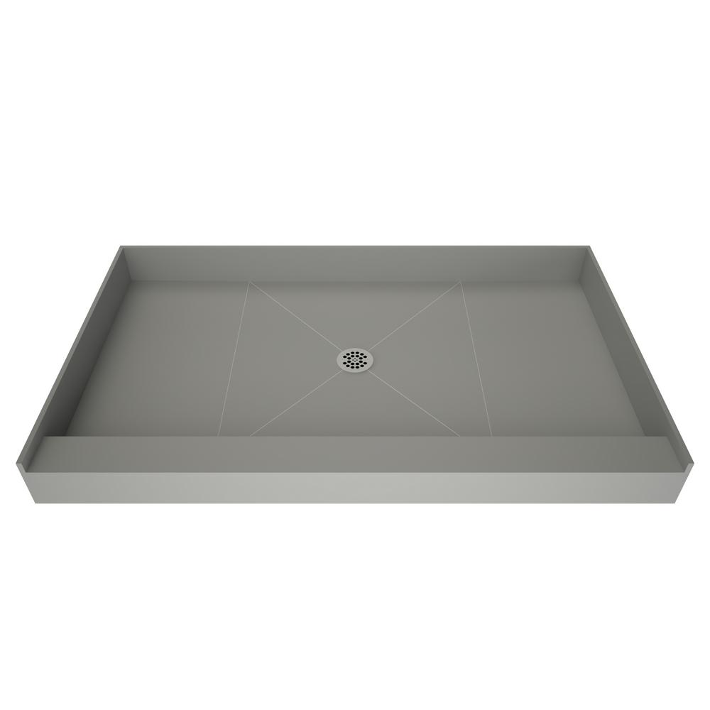 Tile Redi Base 32 In X 36 Single Threshold Shower With Center Drain Gray