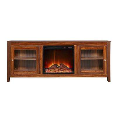 19 in. Wide Electric Fireplace Insert and Darkbrown Cabinet
