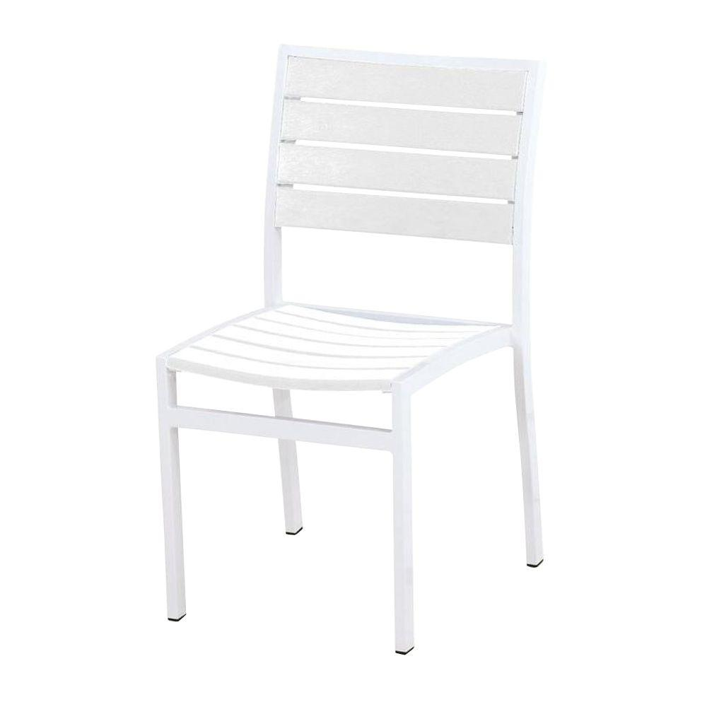 Euro Satin White/White Patio Dining Side Chair