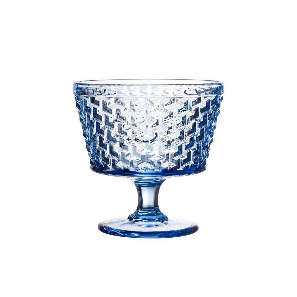 Bistro Weave 4-Piece Blue Pedestal Bowls