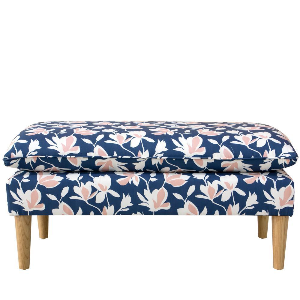 Mamet Silhouette Floral Navy Blush Pillowtop Bench