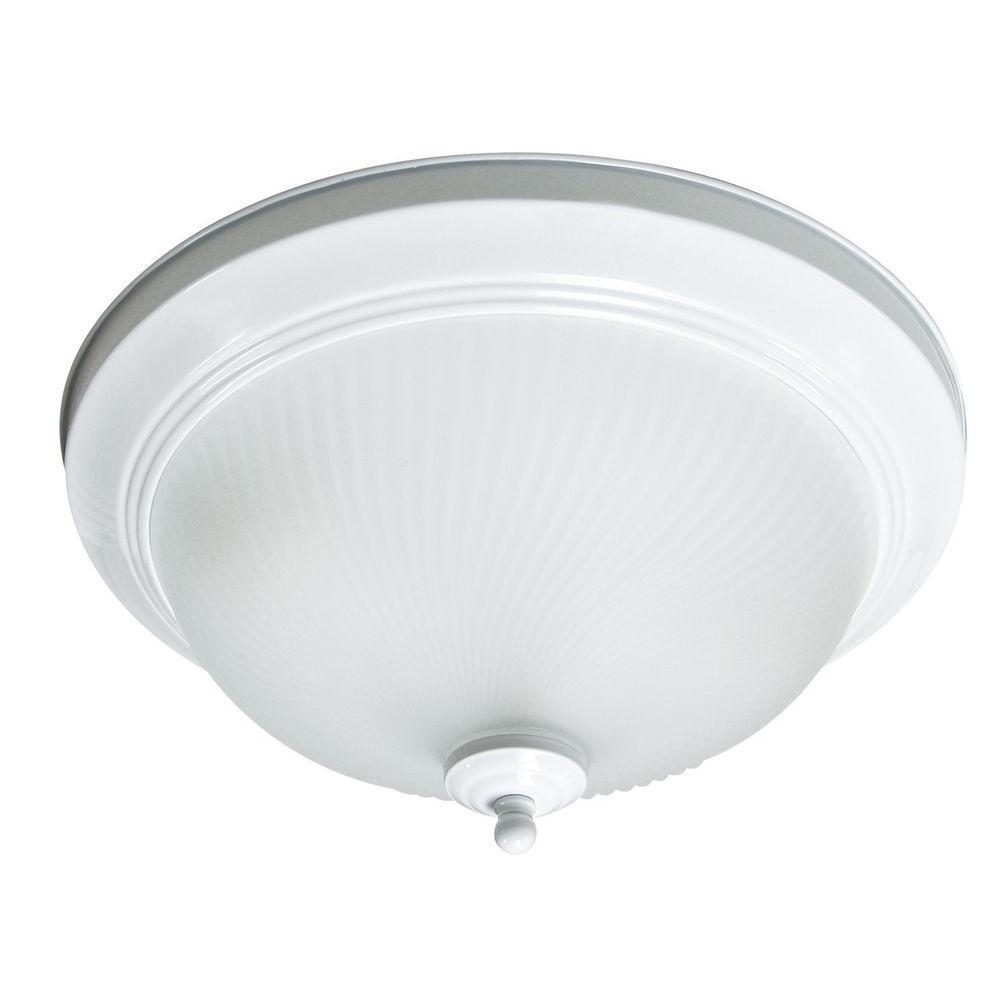Max Lite 2-Light White Fluorescent Flushmount