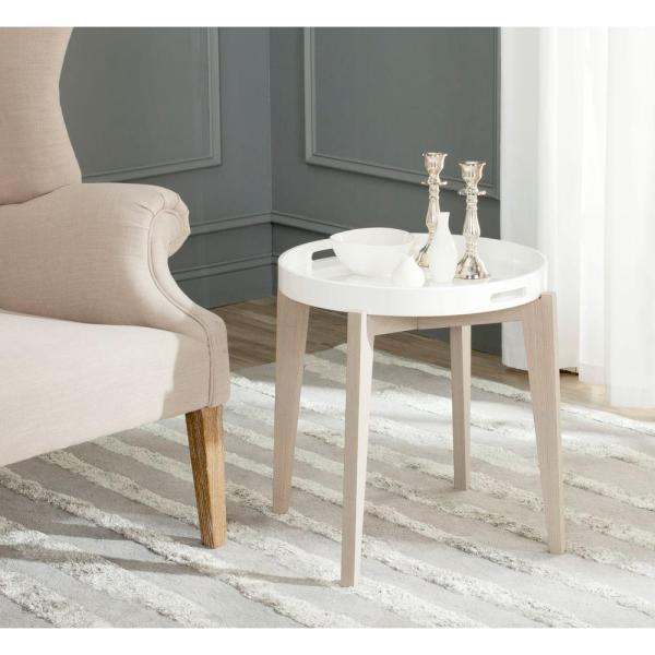 Safavieh Ben White and Light Grey Side Table FOX4202A