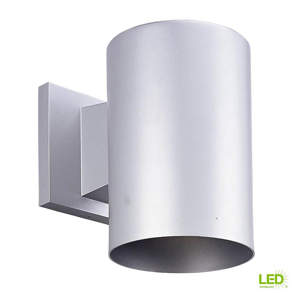 1-Light Metallic Gray Integrated LED Outdoor Wall Mount Cylinder Light