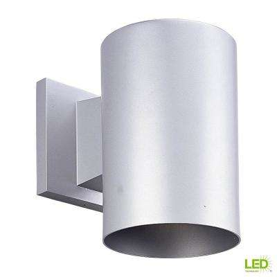 1-Light Metallic Gray Integrated LED 7.5 in. Outdoor Wall Mount Cylinder Light