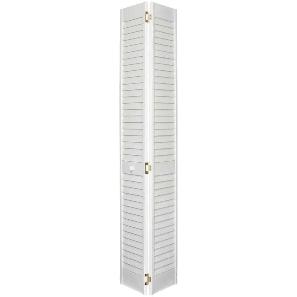 Louver/Louver Primed Solid Wood Interior Closet Bi-fold Door
