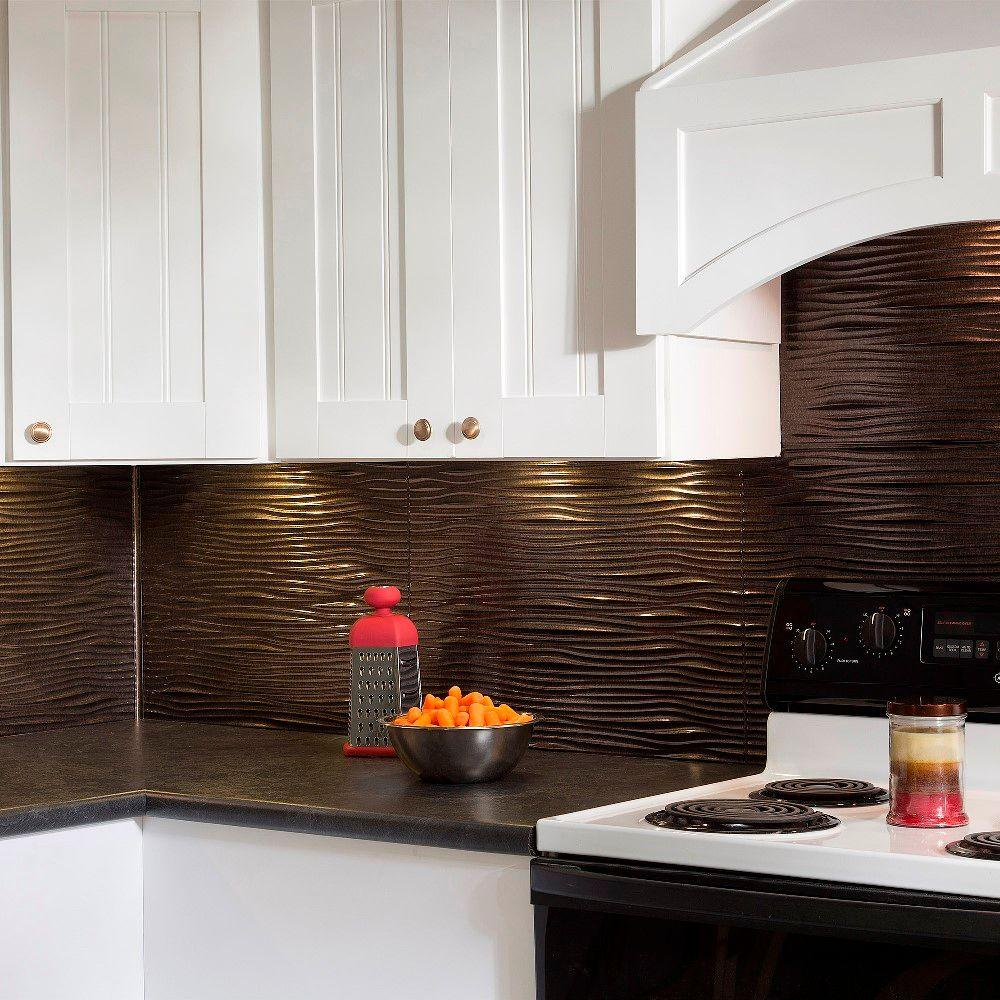 Waves pvc decorative tile backsplash in smoked pewter