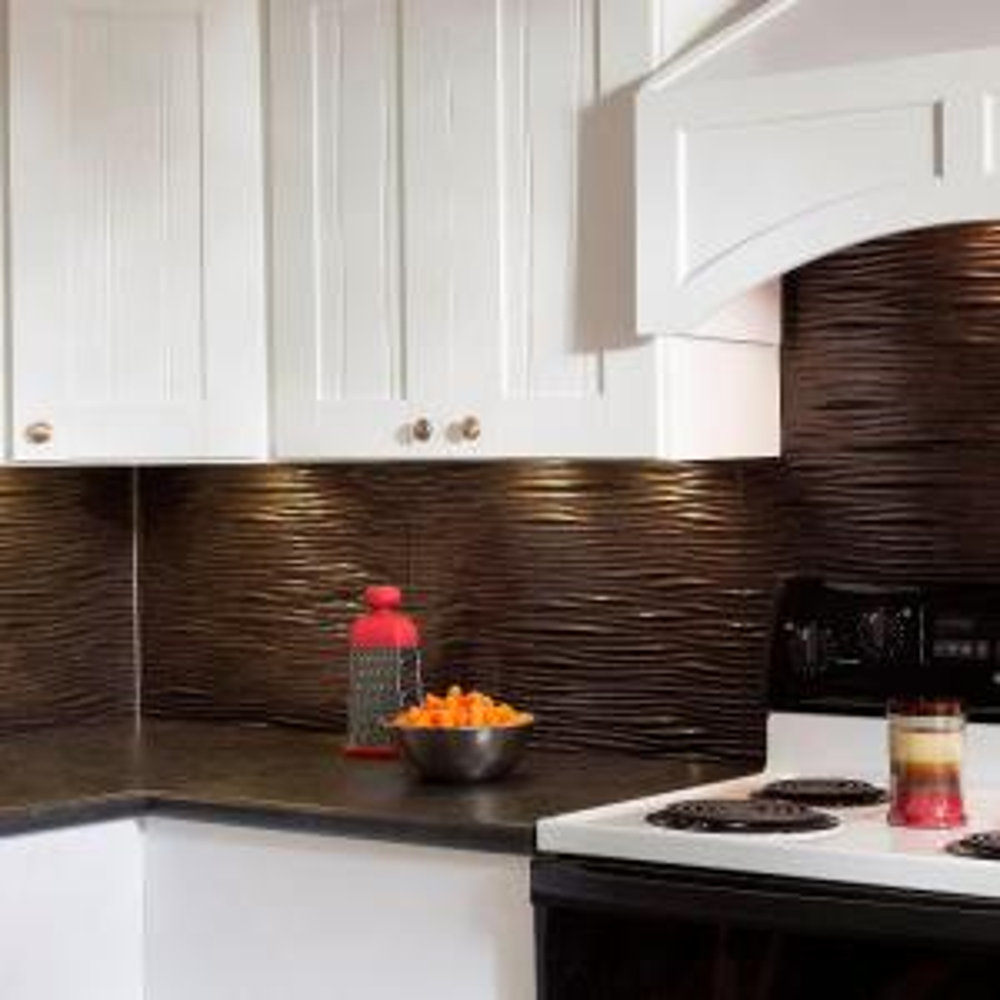 Waves Pvc Decorative Tile Backsplash In Smoked Pewter