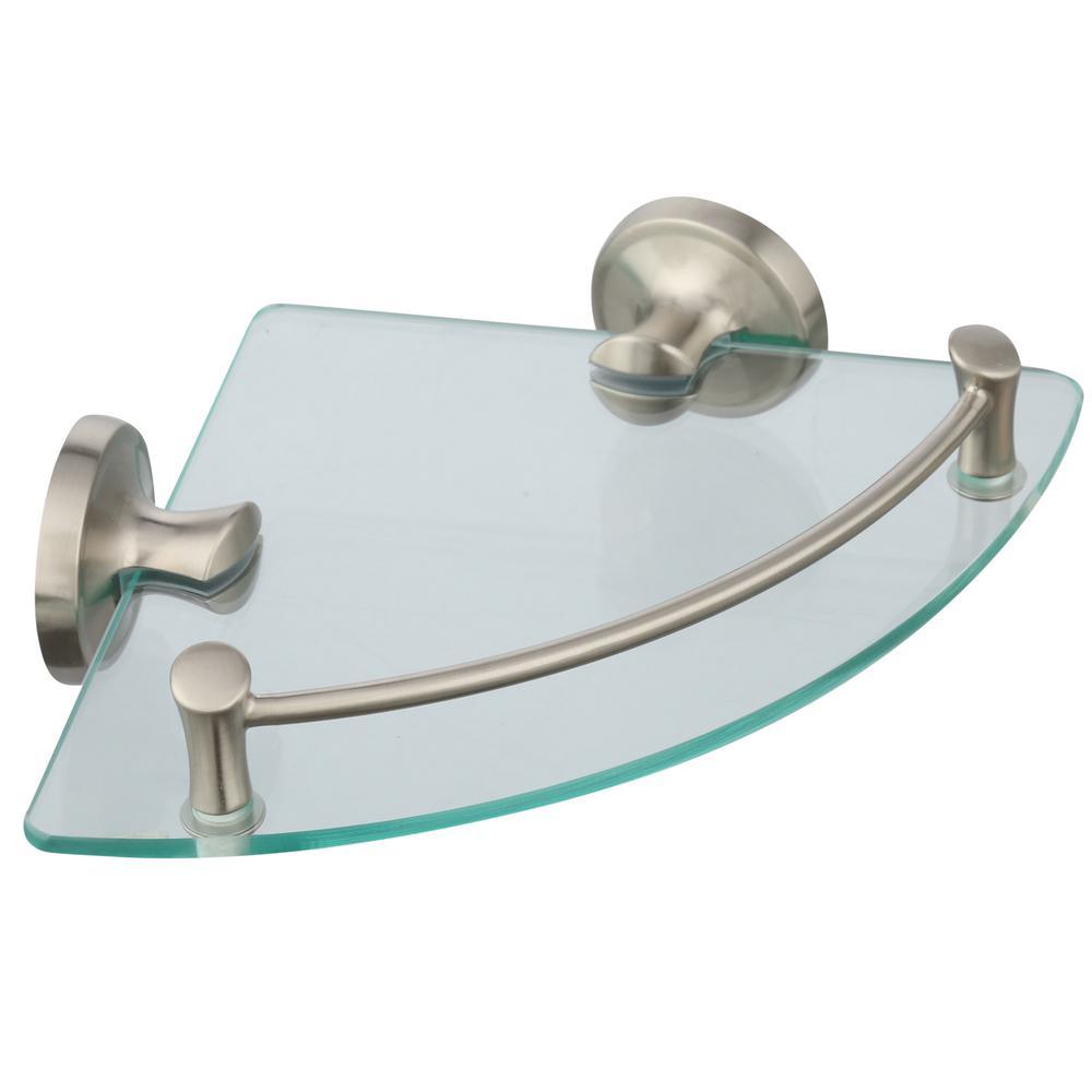 8 in. W Glass Corner Shelf in Brushed Nickel