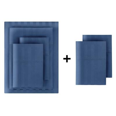500 Thread Count Egyptian Cotton Sateen 6-Piece Queen Sheet Set in Midnight Damask
