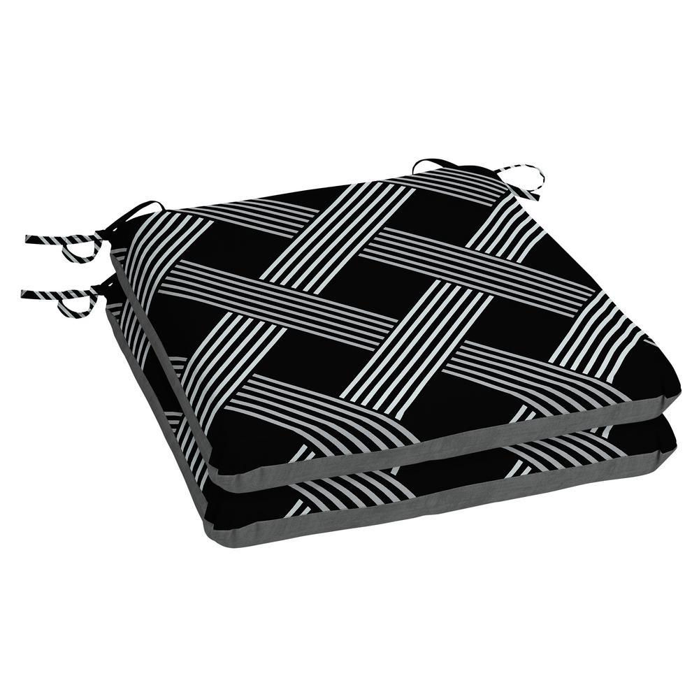 Black Lattice Square Outdoor Seat Cushion (2-Pack)