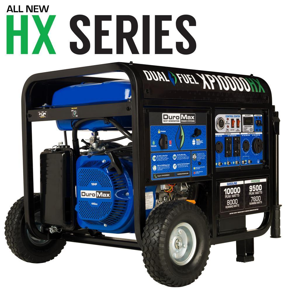Duromax 8,000-Watt Push Button Start Dual Fuel Portable Generator, CO Alert Sensor-Transfer Switch Ready