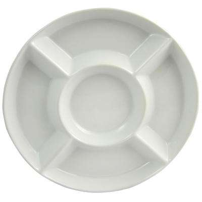 Gracious Dining 13 in. White Divided Serving Tray