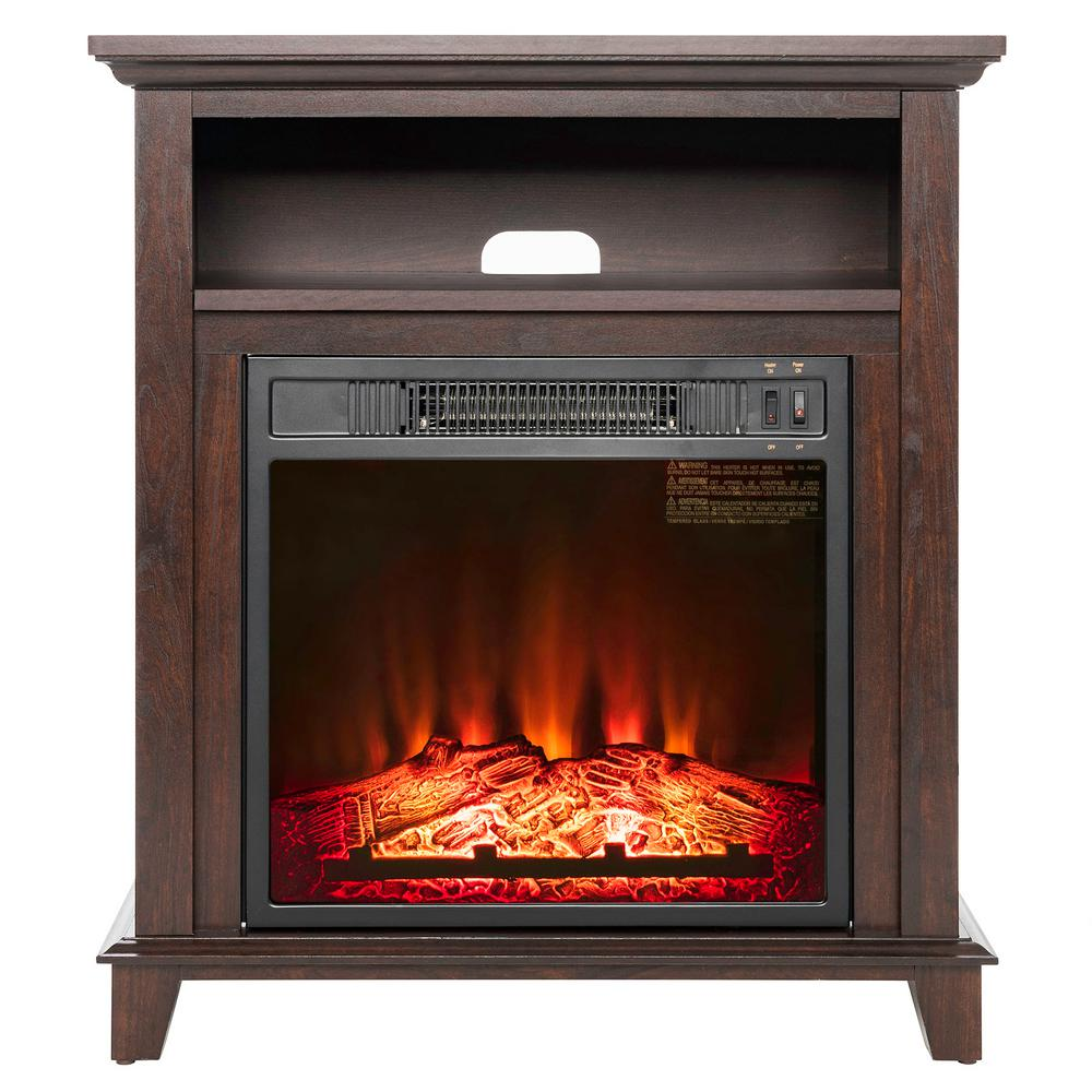 Attractive Freestanding Electric Fireplace In Brown With Storage