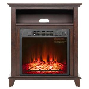 AKDY 27 inch Freestanding Electric Fireplace in Brown with Storage by AKDY
