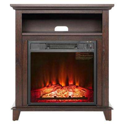 27 in. Freestanding Electric Fireplace in Brown with Storage