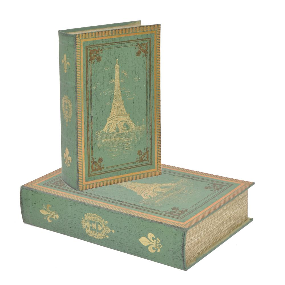 Wood Book Box (Set of 2), Green