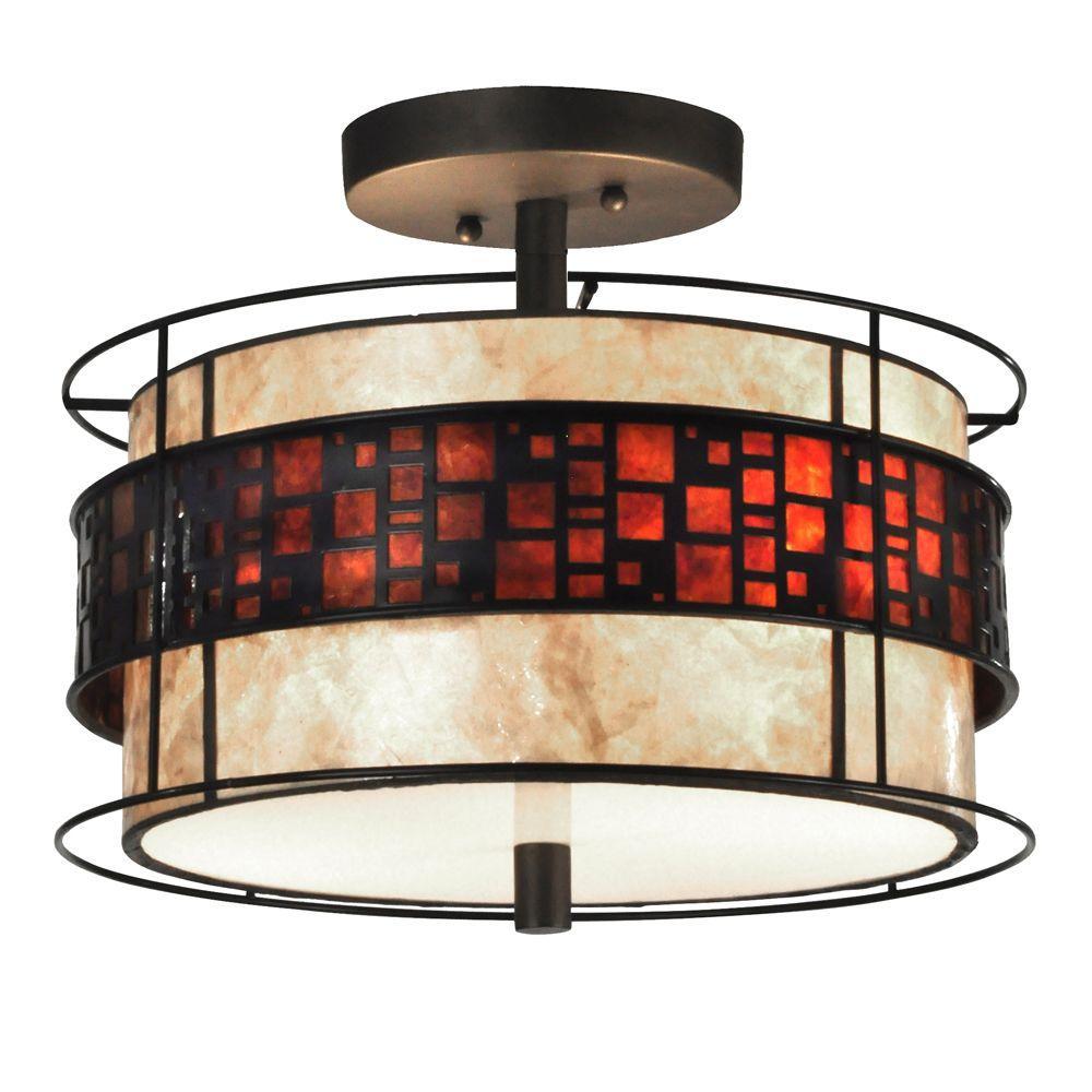 Cobblestone 2-Light Dark Bronze Semi-Flush Mount Light