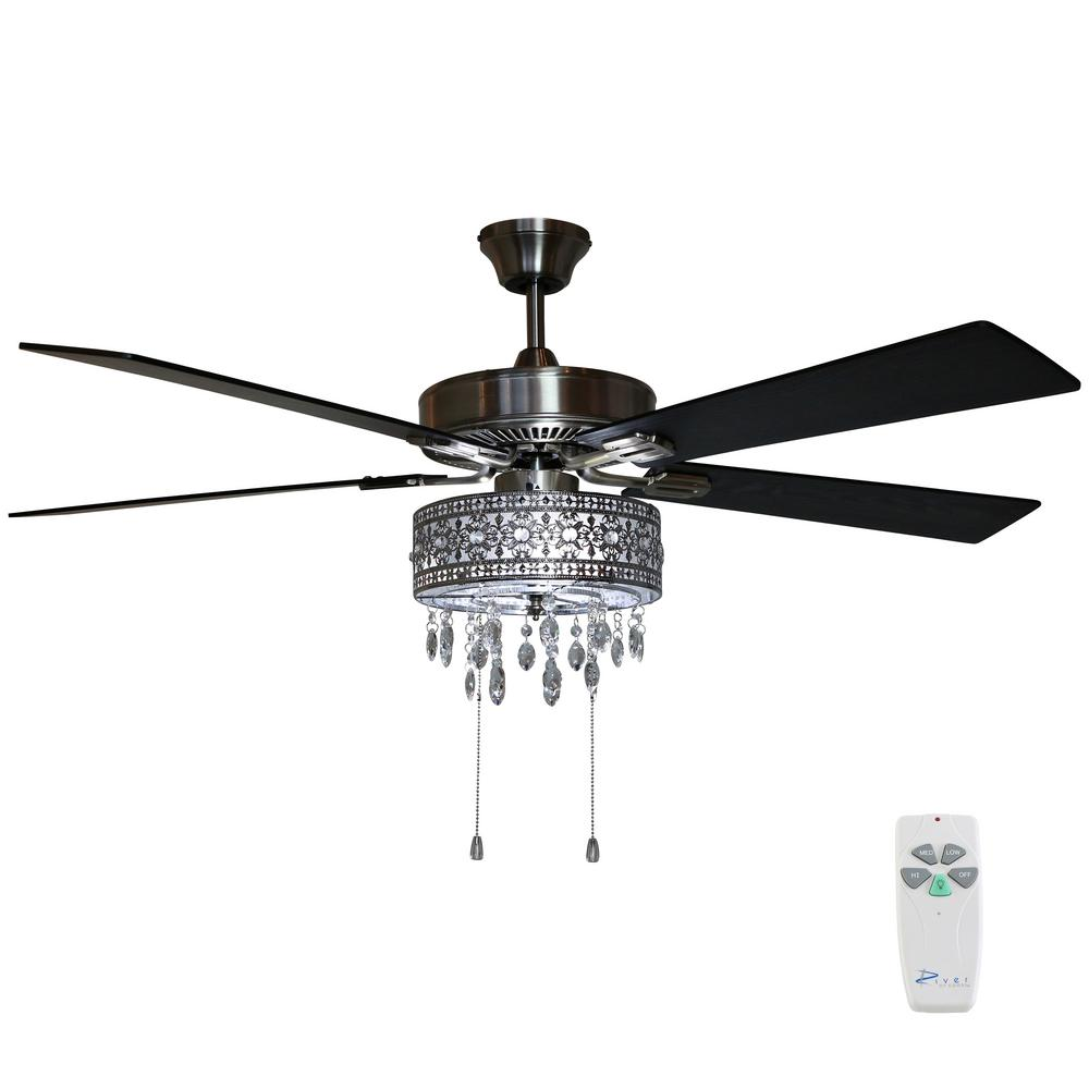 River of Goods Modern 52 in. Satin Nickel Chandelier LED Ceiling Fan with Light