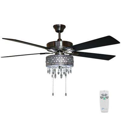 Modern 52 in. Satin Nickel Chandelier LED Ceiling Fan with Light