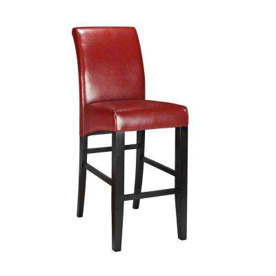 Red Cushioned Bar Stool In Espresso With Back