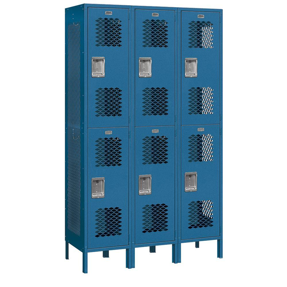 Salsbury Industries 82000 Series 45 in. W x 78 in. H x 18 in. D 2-Tier Extra Wide Vented Metal Locker Assembled in Blue