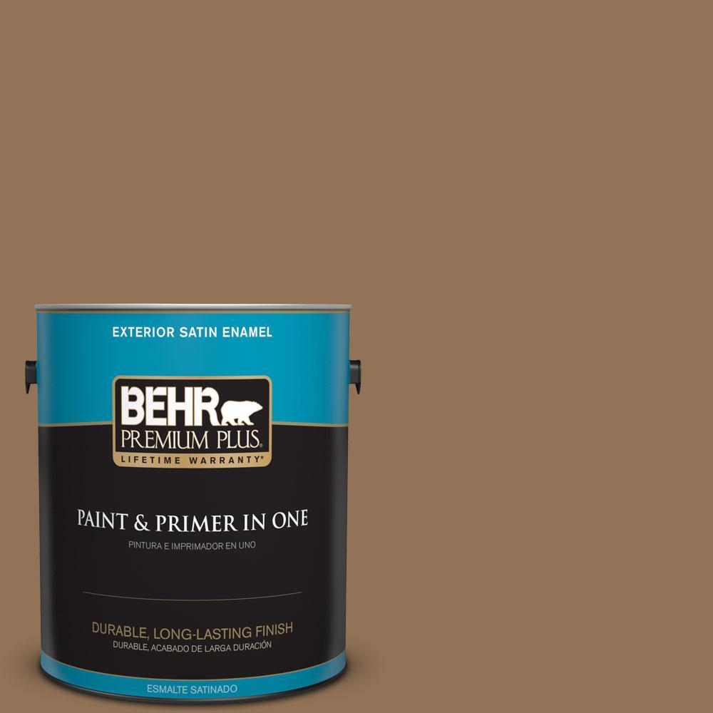 BEHR Premium Plus 1-gal. #290F-6 Warm Earth Satin Enamel Exterior Paint