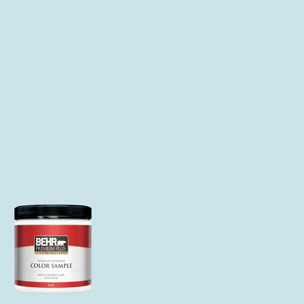 BEHR PREMIUM PLUS 8 oz. #M470-1 Snowmelt Flat Interior/Exterior Paint and Primer in One Sample