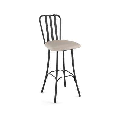 Club 26 in. Cream Faux Leather Black Metal Swivel Counter Stool