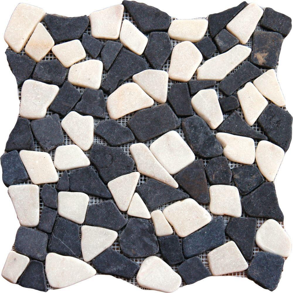 MS International Mixed Flat River Rock 16 in. x 16 in. Tumbled Marble Floor and Wall Tile (12.46 sq. ft. / case)