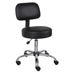 Black Caressoft Medical Stool with Back Cushion