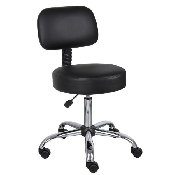 Boss Black Caressoft Medical Stool with Back Cushion B245-BK